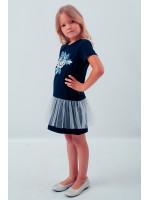 Сукня для дівчинки «Посмішка троянди» темно-синього кольору з сіточкою
