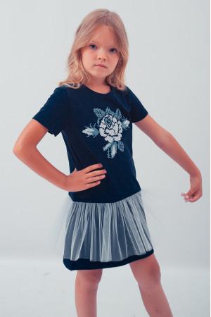 Платье для девочки «Улыбка розы» темно-синего цвета с сеточкой