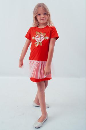 Платье для девочки «Улыбка розы» красного цвета с сеточкой