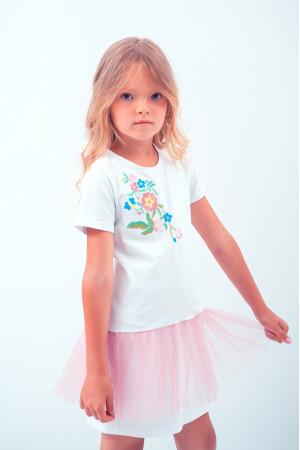 Платье для девочки «Весеннее» белого цвета с розовой сеточкой