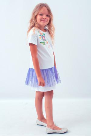 Сукня для дівчинки «Весняна» білого кольору з фіолетовою сіточкою