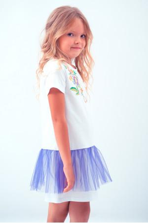 Платье для девочки «Весеннее» белого цвета с фиолетовой сеточкой