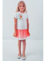 Платье для девочки «Весеннее» белого цвета с красной сеточкой
