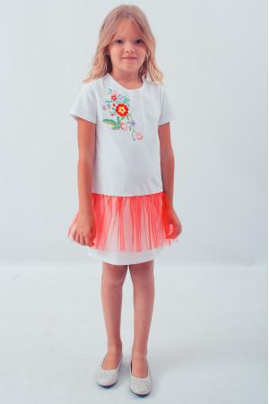 Сукня для дівчинки «Весняна» білого кольору з червоною сіточкою