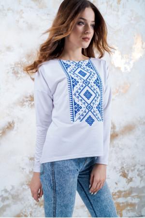 Світшот «Витонченість» білий з синьою вишивкою