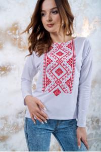 Свитшот «Утонченность» белый с красной вышивкой