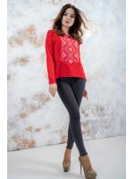 Свитшот «Утонченность» красный с белой вышивкой