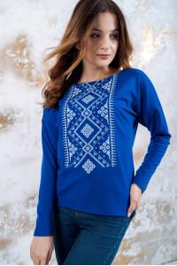 Свитшот «Утонченность» синий с белой вышивкой