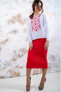 Костюм «Утонченность» с красной вышивкой
