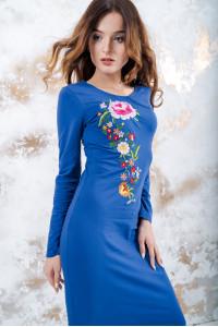 Трикотажное платье «Весеннее» синего цвета