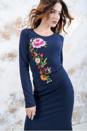 Трикотажное платье «Весеннее» темно-синего цвета