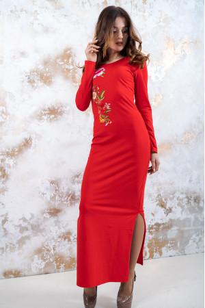 Трикотажное платье «Весеннее» красного цвета