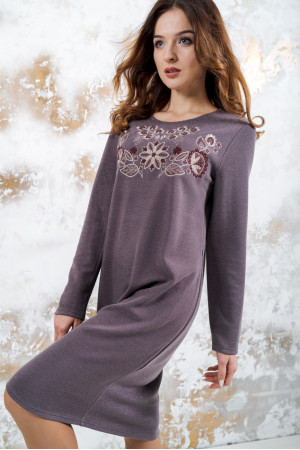 Трикотажное платье «Осенняя палитра» коричневого цвета