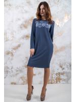 Трикотажна сукня «Осіння палітра» синього кольору