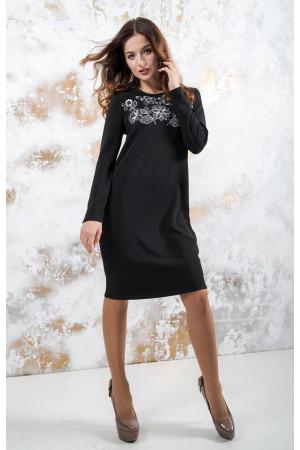 Трикотажное платье «Осенняя палитра» черного цвета
