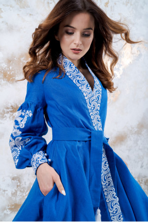 "Платье ""Жар-птица"" синего цвета"
