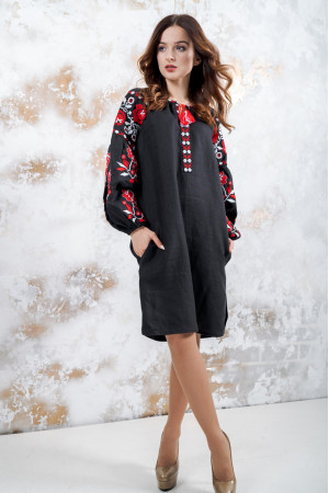 Платье «Очарование» с красным орнаментом
