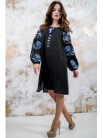 Платье «Очарование» с синим орнаментом