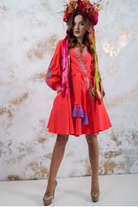 """Платье """"Колорит""""  коралового цвета"""