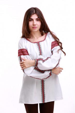 Жіноча вишиванка «Думка-2» з червоним орнаментом