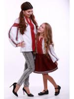 Комплект вишиванок для мами та дочки «Думка» з червоним орнаментом