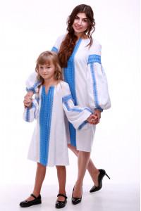 Комплект для мамы и дочки «Думка» с голубым орнаментом