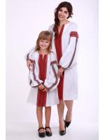 Комплект для матері та доньки «Думка» з червоним орнаментом