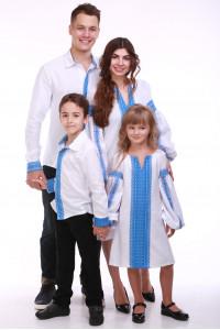 Семейный комплект «Думка» с голубым орнаментом