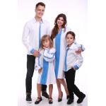 Сімейний комплект «Думка» з блакитним орнаментом