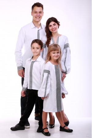 Семейный комплект «Думка» с серым орнаментом