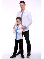 Комплект вышиванок для папы и сына «Думка» с голубым орнаментом