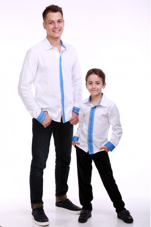Комплект вишиванок для батька та сина «Думка» з блакитним орнаментом