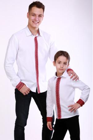 Комплект вышиванок для папы и сына «Думка» с красным орнаментом