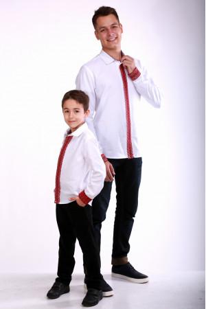 Комплект вишиванок для батька та сина «Думка» з червоним орнаментом