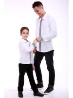 Комплект вишиванок для батька та сина «Думка» з сірим орнаментом