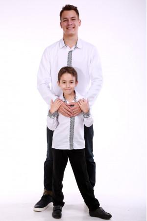 Комплект вышиванок для папы и сына «Думка» с серым орнаментом