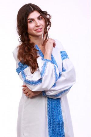 Платье «Думка» с широким голубым орнаментом