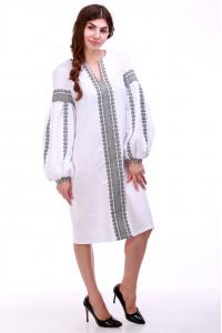 Платье «Думка» с широким серым орнаментом
