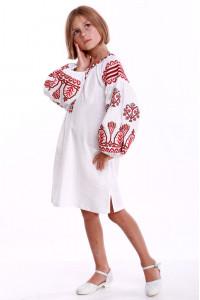 Платье для девочки «Роскошь» белое с красным орнаментом