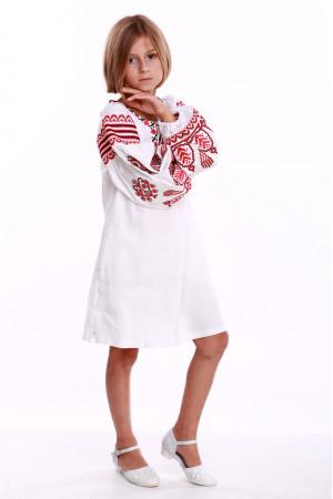 Сукня для дівчинки «Розкіш» біла з червоним орнаментом