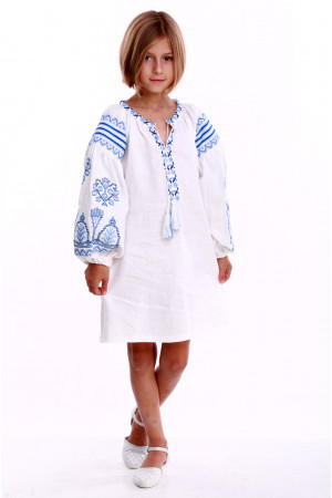 Платье для девочки «Роскошь» белое с голубым орнаментом