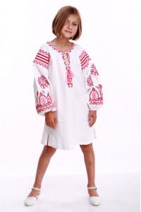Сукня для дівчинки «Розкіш» біла з рожевим орнаментом