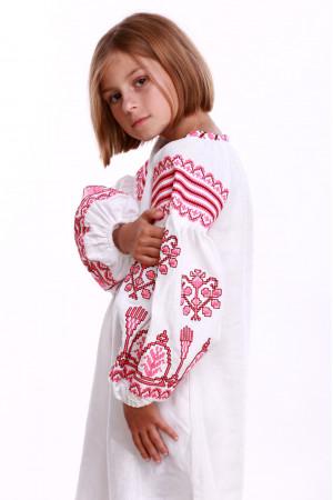 Платье для девочки «Роскошь» белое с розовым орнаментом