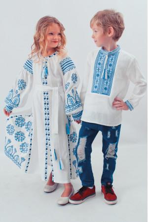 Платье для девочки «Роскошь» белое с голубым орнаментом, длинное