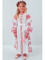 Сукня для дівчинки «Розкіш» біла з рожевим орнаментом, довга