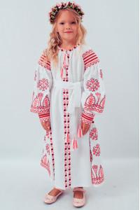 Платье для девочки «Роскошь» белое с розовым орнаментом, длинное