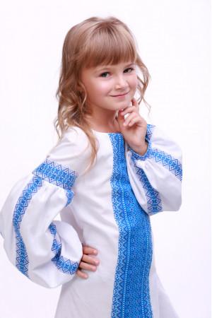 Платье для девочки «Думка» белое с голубым