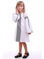 Сукня для дівчинки «Думка» біла з сірим
