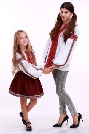 Юбка для девочки «Украинка» бордовая