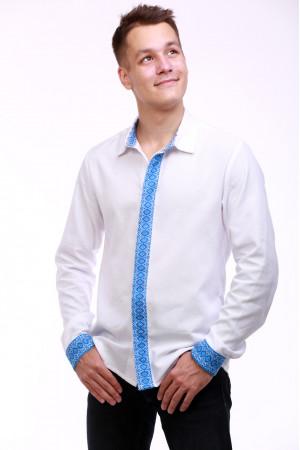 Мужская вышиванка «Думка» с голубым орнаментом